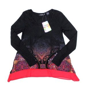 Desigual Olga Tunic Long Sleeve Scoop Neck Top